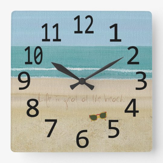 Life is great beach scene sunglasses wall clock