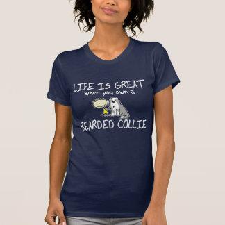 Life is Great Bearded Collie Ladies TShirt