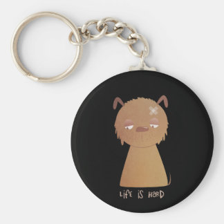 Life is Hard Puppy Basic Round Button Key Ring