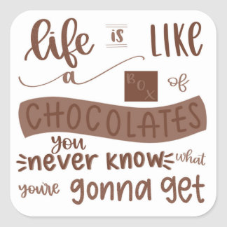 life is like a box of chocolates It's like forrest gump said, 'life is like a box of chocolates' your career is like a box of chocolates - you never know what you're going to get but everything you get is going to teach you something along the way and make you the person you are today.