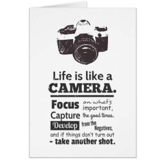 Life is like a camera quote, Black Grunge Card