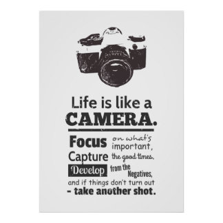 Life is like a camera quote, Black Grunge Poster