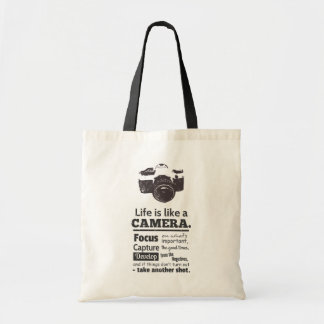 Life is like a camera quote, Black Grunge Tote Bag