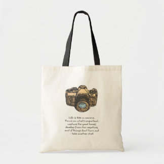 Life is like a camera quote, Hipster Budget Tote Bag