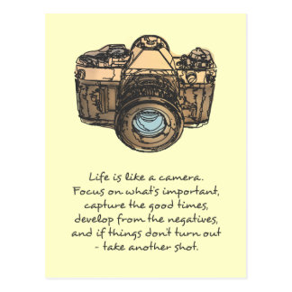 Life is like a camera quote, indie postcard