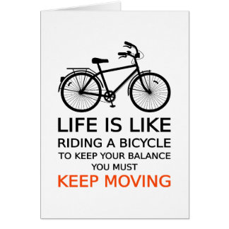 life is like riding a bicycle, word art, text card