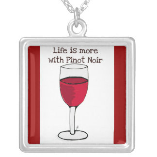 """""""LIFE IS MORE WITH PINOT NOIR"""" RED WINE PRINT SQUARE PENDANT NECKLACE"""