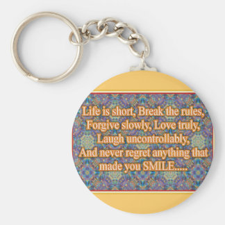 Life is Short Basic Round Button Key Ring