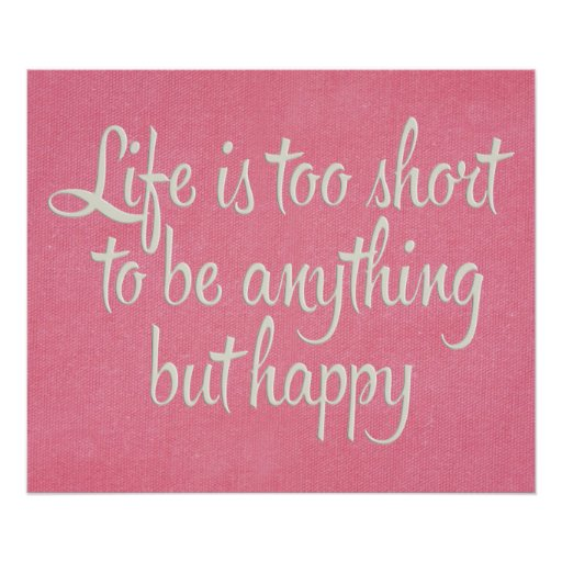 Life is Short Be Happy Pink Canvas Print