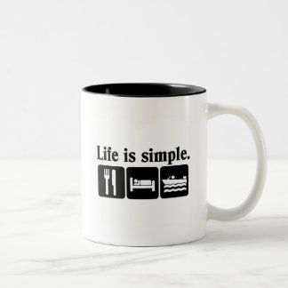 Life is simple boating Two-Tone coffee mug
