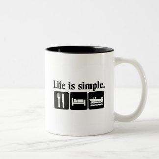 Life is simple boating Two-Tone mug
