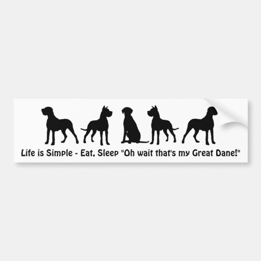 Life is Simple Eat Sleep Great Dane Humour Quote Bumper Sticker