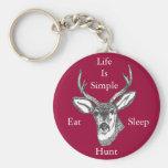 Life Is Simple Eat, Sleep, Hunt! Keychains