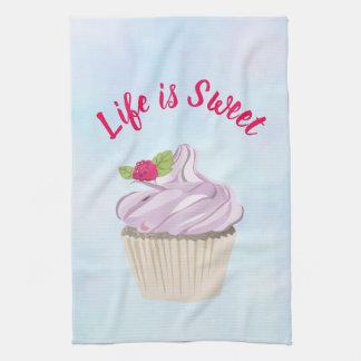 Life is Sweet Pink Cupcake Tea Towel