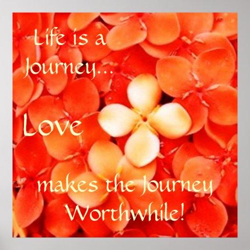 Life Journey Quote Tangerine Orange Blossoms Posters