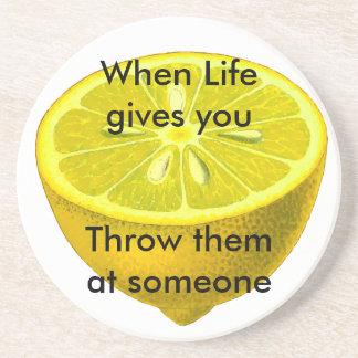 Life Lemon Sandstone Coaster