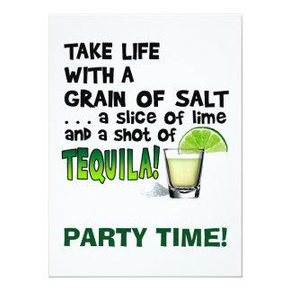 Life, Lime, Salt, TEQUILA! Cocktail Humor 14 Cm X 19 Cm Invitation Card