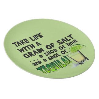 Life, Lime, Salt, TEQUILA! Cocktail Humor Plate