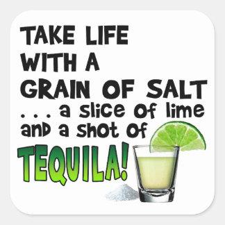 Life, Lime, Salt, TEQUILA! Cocktail Humor Square Sticker