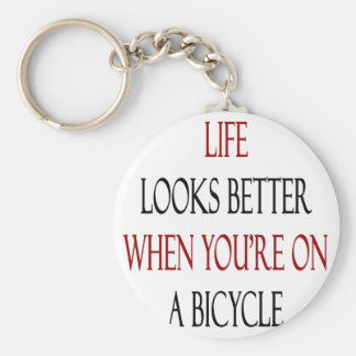 Life Looks Better When You're On A Bicycle Key Ring