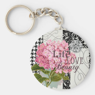 Life Love Beauty Flower Pink Collage Basic Round Button Key Ring