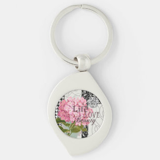 Life Love Beauty Flower Pink Collage Silver-Colored Swirl Key Ring