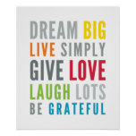 LIFE MANTRA positive cool typography bright Poster