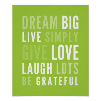 LIFE MANTRA positive modern typography lime green Poster