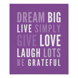 LIFE MANTRA positive modern typography purple Poster