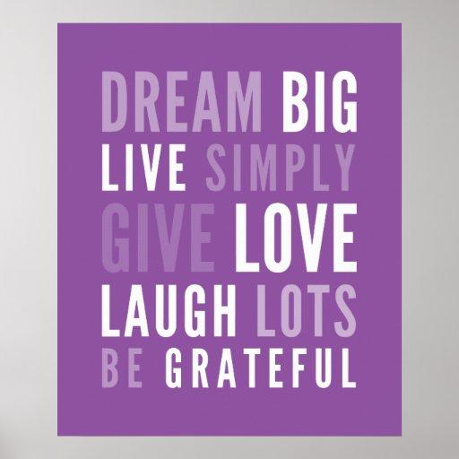 LIFE MANTRA positive modern typography purple Print