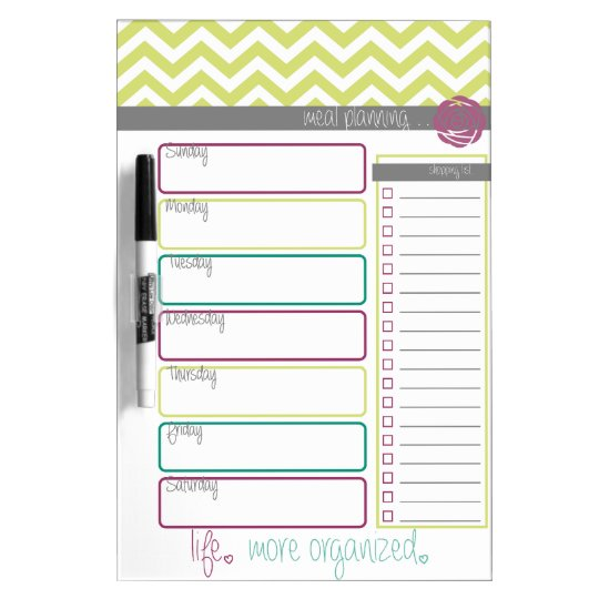 Life. More Organised. Meal Plan Dry Erase Board