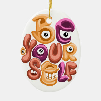 life motto - be yourself graffiti christmas ornament