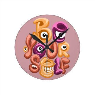 life motto - be yourself graffiti round clock