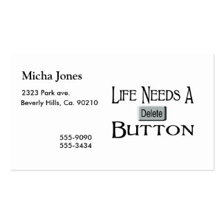 Life Needs A Delete Button Double-Sided Standard Business Cards (Pack Of 100)