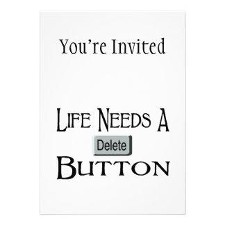 Life Needs A Delete Button Personalized Invite