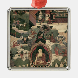 Life of Buddha Sakymuni Silver-Colored Square Decoration