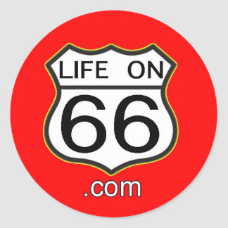 Life On 66 Sticker (Round red)