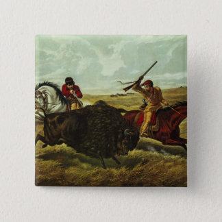 Life on the Prairie - the Buffalo Hunt, 1862 15 Cm Square Badge