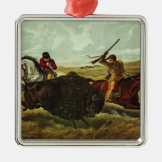 Life on the Prairie - the Buffalo Hunt, 1862 Silver-Colored Square Decoration