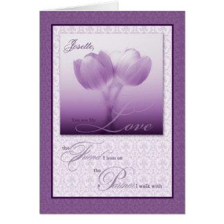 Life Partner Wedding Anniversary Purple Tulips Greeting Card