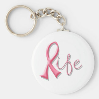 Life Pink Ribbon Basic Round Button Key Ring