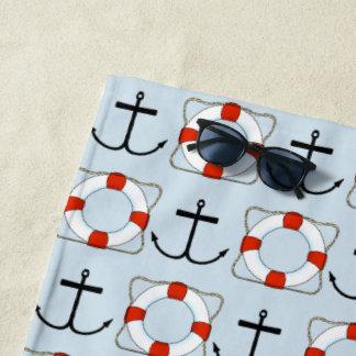 Life Preserver and Anchor Beach Towel