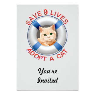 Life Preserver with Cat Adoption 13 Cm X 18 Cm Invitation Card