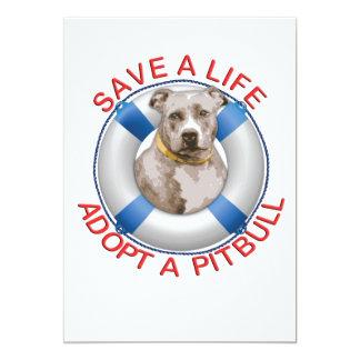 Life Preserver with Pitbull Adoption 13 Cm X 18 Cm Invitation Card