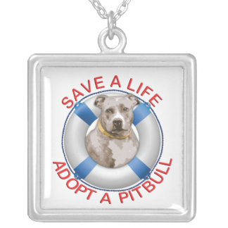 Life Preserver with Pitbull Adoption Silver Plated Necklace