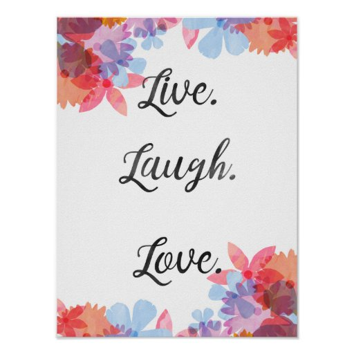 Life Quote Poster, Live Love Laugh Art Poster