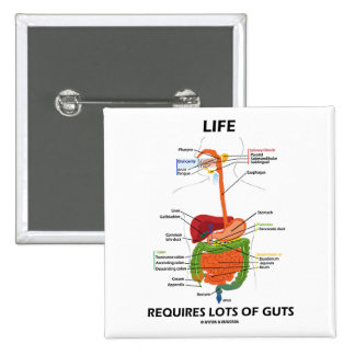 Life Requires Lots Of Guts (Digestive System) 15 Cm Square Badge