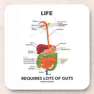 Life Requires Lots Of Guts (Digestive System) Drink Coasters