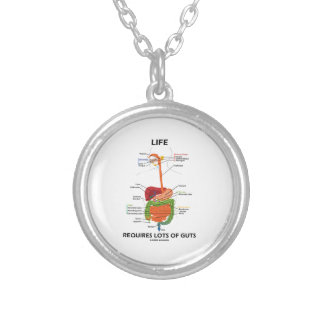 Life Requires Lots Of Guts (Digestive System) Round Pendant Necklace