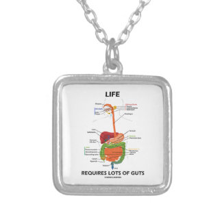 Life Requires Lots Of Guts (Digestive System) Square Pendant Necklace